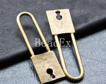 2pcs / Lock / Antique Brass Tone / Base Metal / Charm (ZB14768//K197)
