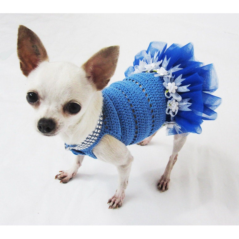 Cute teacup dog tutu dress crochet bling bling wedding by - Dog clothes for chihuahuas ...