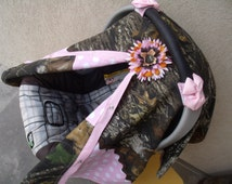 Carseat Canopy Mossy Oak Camo Girl Pink Dot Cover
