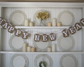HAPPY NEW YEAR Banner, New Years Eve Decoration, New Years Party, Happy New Year Sign