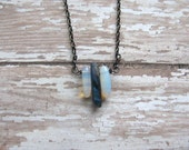 Raw Blue Iridescent Crystal Point with Opalite Spears Necklace