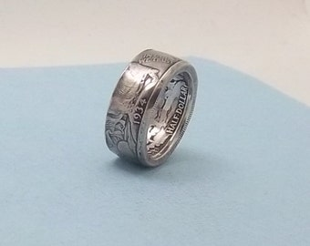 Silver coin ring walking liberty half dollar 90% fine silver jewelry year 1934 size 91/2