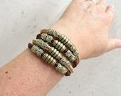 Portuguese cork -  tow tones brown bracelet with  20mm clasp  - cork bracelet - Portugal