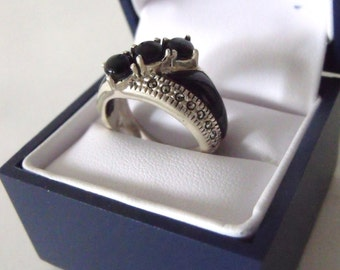 GIFT for HER Silver Marcasite and Onyx Ring - 925 Silver Ring- Gift For Her