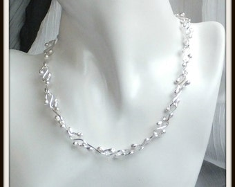 Athena Artisan Handmade Fused sterling silver Necklace Chain Wedding Bride Art jewelry