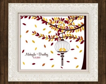 "Fall Wedding Guest Book Signature Tree - Caged Love Birds Autumn Leaves - 16"" x 20"" - Signature Only - Up to 150 guests"