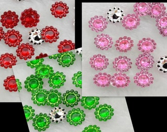 50 Acrylic Rhinestone Style Silver Lined Point Back Ring Gems ... Mix of 3 colors .....  destash sale