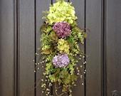 "Spring Wreath Summer Wreath Teardrop Twig Door Swag Vertical Decor...""Now and Forever"" Green Purple Hydrangea Wispy Floral Swag Door Decor"