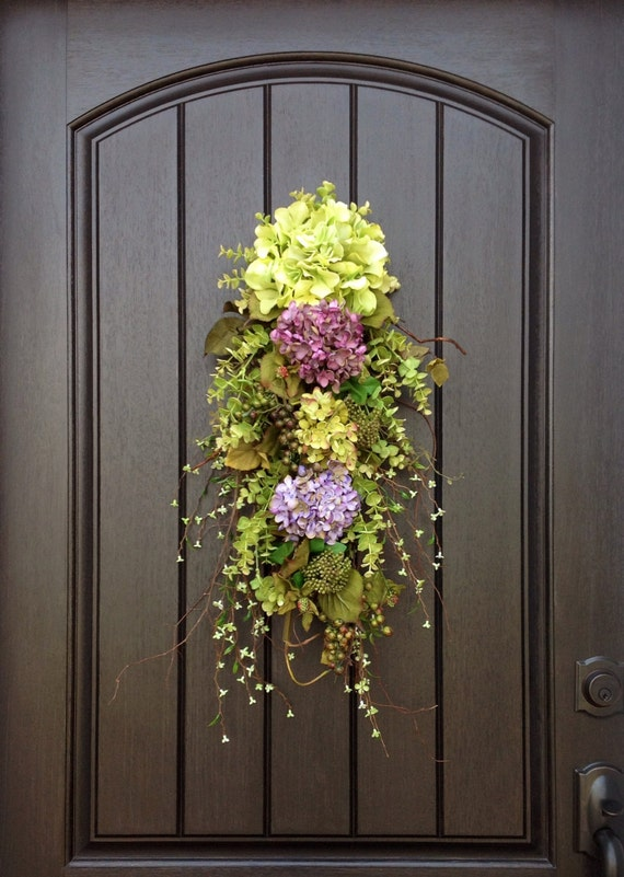 Spring Wreath Summer Wreath Teardrop Twig Door Swag Vertical