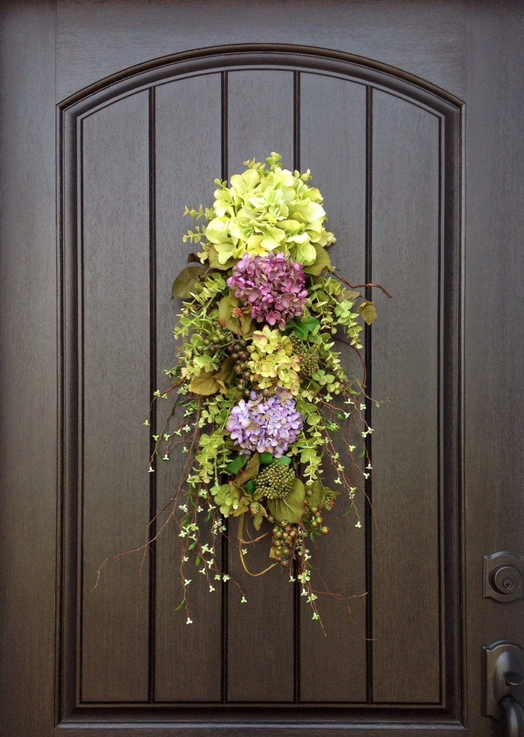 Spring wreath summer wreath wispy wild teardrop twig door swag for Door design accessories