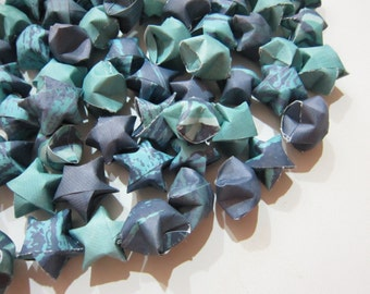 100 Navy and Turquoise Origami Stars