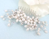 Signs of Spring - Freshwater Pearl Swarovski Crystal and Rhinestone Bridal Comb
