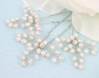 Ivy- Vintage Style Freshwater Pearl  Bridal Hair Pin ( Set of Three )
