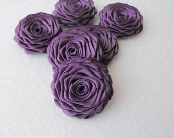 6 handmade roses ribbon flowers in amethyst purple