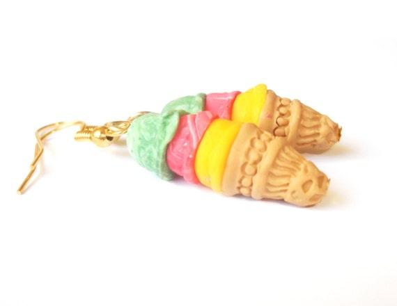 Reggae Earrings Triple Ice Cream Cones Jamaica Jewelry ( yellow red green funky jewelry kawaii earrings polymer clay hemp jewelry women )