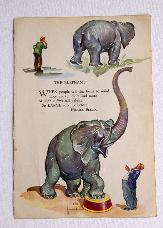Vintage childrens ELEPHANT illustration with poem by Hilaire BellocVintage Elephant Illustration