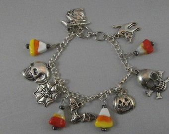 Silver Halloween Charm and Lampwork Glass Candy Corn Bracelet