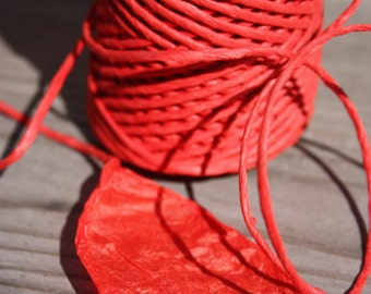 By Yards Yards of Elegant HOT Red Twisted Paper Cord 2mm diameter -Eco Materials - for weddings, crafting, gift wrapping, packaging