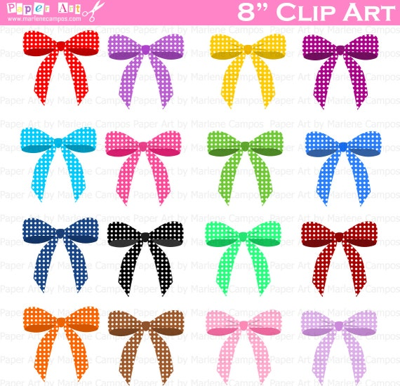 Bows Clip Art, Polka Dots bows Digital Clipart, Birthday Party ...