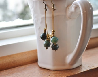 Green, Gold, and Freshwater Pearl Earrings