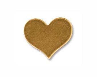 "Brass Heart - Hand Stamped Jewelry Supply- Metal Blank - Small Brass Heart Jewelry Blank- 3/8"" x 1/2""  24 gauge- Pack of TEN- 10.8 x 12.94mm"