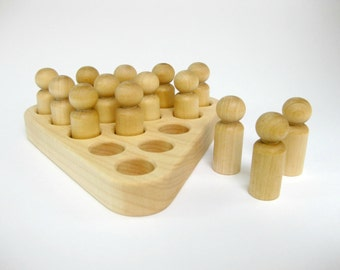 Wood Jump a Peg Solitaire Game, natural wooden toy