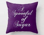 Throw Pillow Cover A Spoonful of Sugar - Purple and Baby Blue - 16x16, 18x18, 20x20 - Nursery Original Design Home Décor by Adidit
