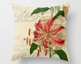 Throw Pillow Cover - Pink White Lily on Vintage Ephemera in two shades - 16x16, 18x18, 20x20 - Pillow Case Design Home Décor by Adidit