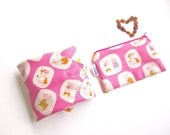 Lunch Set of Sandwich Wrap and Snack Bag with Food-Safe Nylon Lining - Little Piggies (Pink)