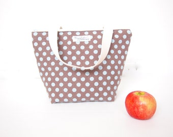 Small Insulated Lunch Tote Bag with Waterproof Lining - Aqua Blue and Brown Polka Dot