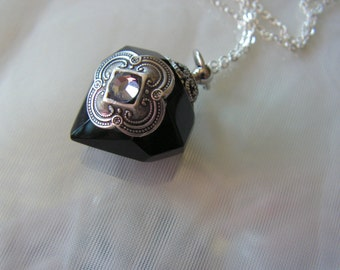 Black Crystal Diamond Essential Oil / Perfume Bottle Necklace