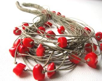 Coral  - linen necklace
