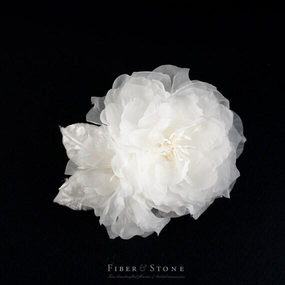 Soft White Bridal Hair Flower, Off White, Diamond White Wedding Hair Flower, Fabric Flower Wedding Hair Clip, Silk Bridal Hair Accessory