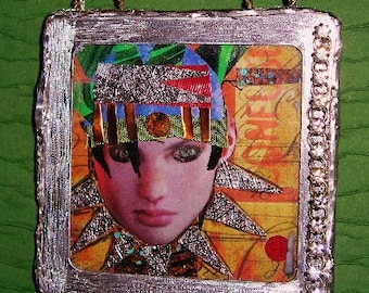 Original Mixed Media Collage Portrait of a Woman Framed 1st in Series
