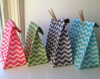 Reusable Lunch Bags- New Prints-Chevron-Pink- Lime Green-Gray- Teal-Lightweight- Now with Velcro Closure