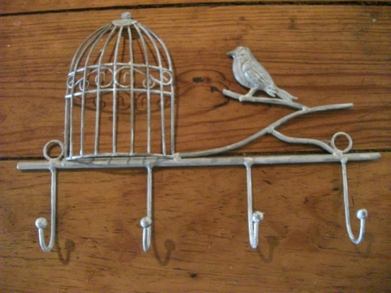 Decorative Wall Hanging Coat Rack : Handpainted metal birdcage rack coat wall hanging