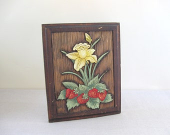 1980s Carved Wood Wall Hanging Home Decor Daffodil Strawberries