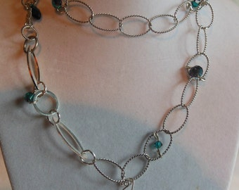 "30"" Chain Necklace with Swarovski Beads"