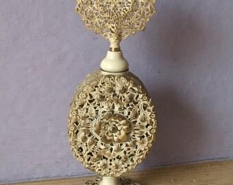 Antique Victorian perfume bottle, brass perfume bottle, white enamel, shabby chic bedroom decor, wedding gift for bride, anniversary gift