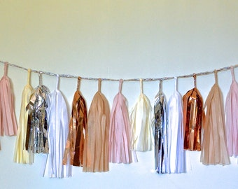 Blushing Beauty Neutrals Sparkle & Shine 27 Tissue Tassel Garland