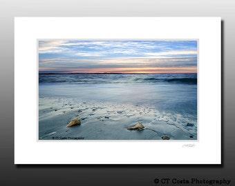 Ocean Beach Sunrise wall art, Conch Shells, Blue, Orange, Signed Matted Print, Ready for framing