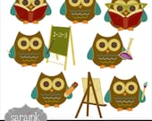 Smart Owls Scholarly Clipart Download - Cute digital clip art for Personal and Commercial Use