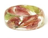 Orange Bracelet- Green Bangle- Red Flower Jewelry- Resin Jewelry- Flower Bangle- Flower Resin Bracelet