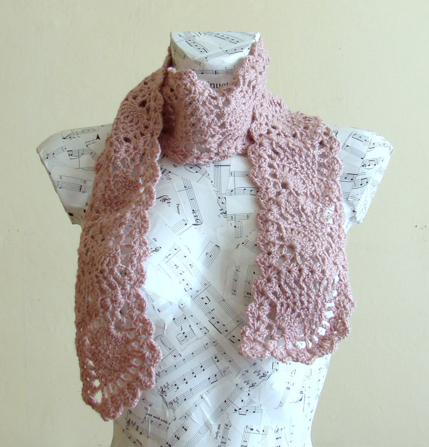 handmade crochet pineapple scarf ready for shipping by