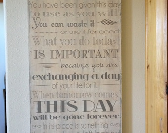 This is the beginning of a new day - motivational 18x36 sign - beautiful distressed background with a dark gray lettering