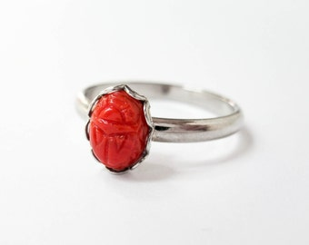 Tiny Scarab Ring - Vintage Red Scarab Cabochon - Adjustable Ring - Scarab Jewelry - Stacking Rings - Good Luck Jewelry - Insect