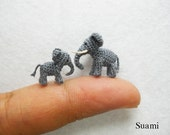 Extreme Tiny Elephants - Micro Mini Amigurumi Crochet Miniature Animals - Set of Two Elephants Dad and Son - Made To Order