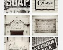 Vintage Sign Print or Canvas Art, Kitchen Decor, Shabby Chic Home Decor, Set of 6 Prints, Black And White, Cream, Rustic Decor.