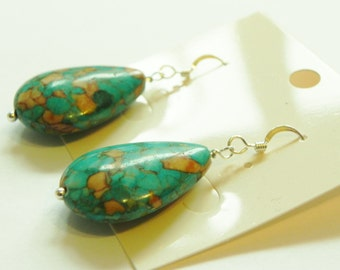 Mosaic turquoise drop sterling silver earrings