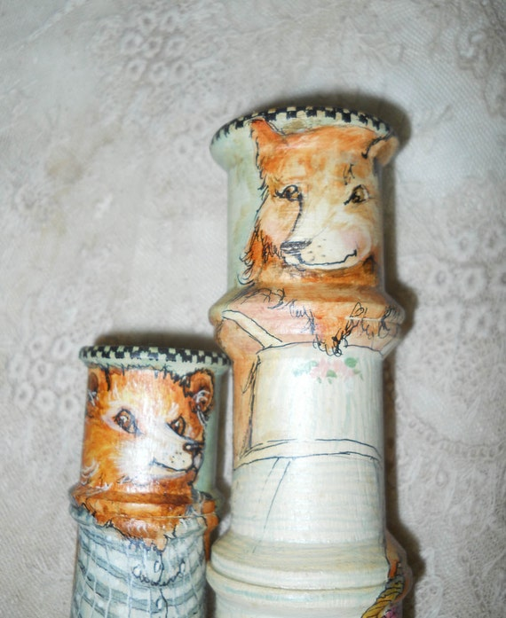 Hand Painted Mama Bear And Baby Bear Spool Dolls Antique Wood Thread Spool Dolls OOAK Anthropomorphic Dolls Collectible Art Home Decor